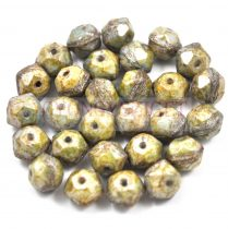 Cseh csiszolt golyó gyöngy - English cut - alabástrom zöld barna márvány - 10mm