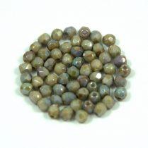Cseh csiszolt golyó gyöngy - alabaster green iris luster - 3mm