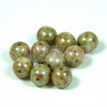 Cseh préselt golyó - alabástrom zöld lüszteres barna márvány - 8mm