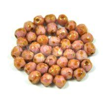Cseh csiszolt golyó gyöngy - telt rózsaszín bronz márvány - 3mm
