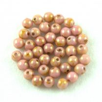 Cseh préselt golyó gyöngy - rózsa-barna bronz márvány-3mm