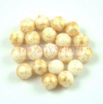 Cseh préselt golyó - Alabaster Gold Patina - 3mm
