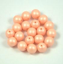 Cseh préselt golyó gyöngy - luminous pastel peach - 6mm - 100db