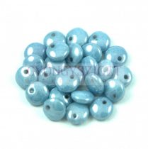 Lentil with Asymetrical Hole - Czech Glass Bead - Alabaster Blue Luster -6mm