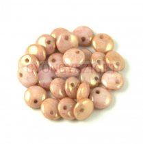 Lentil with Asymetrical Hole - Czech Glass Bead - Alabaster Rose BronzeLuster -6mm