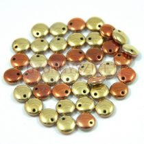 Lentil with Asymetrical Hole - Czech Glass Bead -  California gold rush -6mm