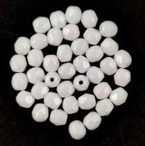 Czech Firepolished Round Glass Bead - white-pearl luster-6mm