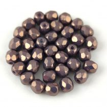 Czech Firepolished Round Glass Bead - Opaque White Purple Luster - 4mm