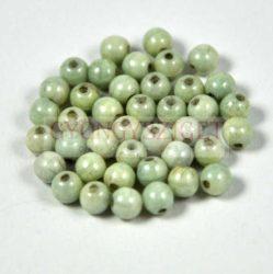 Cseh préselt golyó gyöngy – fehér-zöldesszürke márvány -4mm