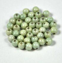 Cseh préselt golyó - fehér-zöld márvány-4mm