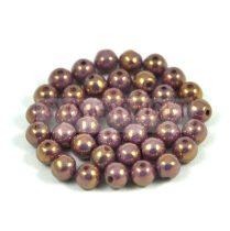 Cseh préselt golyó gyöngy - White Purple Gold Luster - 6mm
