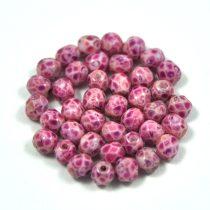 Cseh csiszolt golyó gyöngy - Chalk White Pink Marble - 4mm