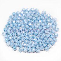 Cseh csiszolt golyó gyöngy - fehér aqua márvány-4mm