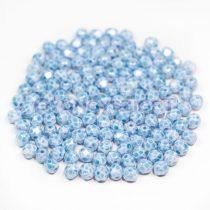 Czech Firepolished Round Glass Bead - white aqua marble-4mm