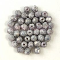 Czech Firepolished Round Glass Bead - Grey Lustered White Marble -3mm