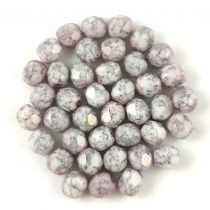 Czech Firepolished Round Glass Bead - Grey Lustered White Marble - 4mm