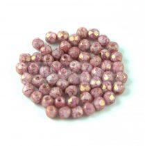 Cseh csiszolt golyó gyöngy - White Pink Bronze Luster - 3mm