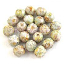 Cseh csiszolt golyó gyöngy - Chalk White Green Marble - 6mm