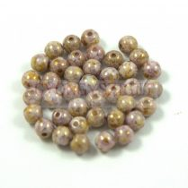 Cseh préselt golyó gyöngy - White Brown Purple Bronze Luster - 3mm