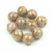 Cseh préselt golyó - White Purple Gold Luster - 8mm