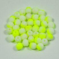 Cseh csiszolt golyó gyöngy - telt fehér neon zöld -4mm
