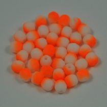 Cseh csiszolt golyó gyöngy - telt fehér neon narancs -4mm