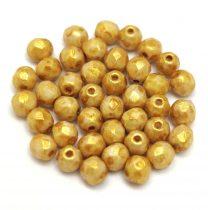 Cseh csiszolt golyó gyöngy - Chalk Gold Terracotta - 4mm