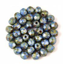 Cseh csiszolt golyó gyöngy - Chalk Sapphire Terracotta - 4mm