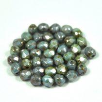 Cseh csiszolt golyó gyöngy - zöld-barna márvány-6mm