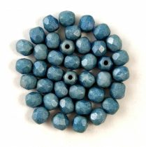 Czech Firepolished Round Glass Bead - Chalk White Matt Blue Luster - 4mm