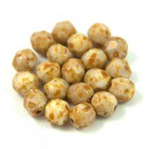 Cseh csiszolt golyó gyöngy -  telt karamell-barna márvány-6mm