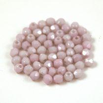 Cseh csiszolt golyó gyöngy - lüszeres halvány fehér-rózsaszín-3mm