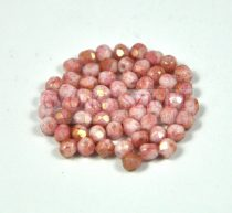 Czech Firepolished Round Glass Bead - Chalk White Rose Luster - 3mm