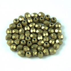 Cseh csiszolt golyó gyöngy - saturated metallic golden lime - 3mm