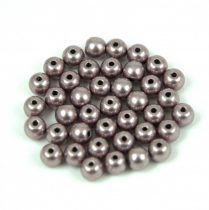 Czech Pressed Round Glass Bead - saturated metallic almost mauve - 4mm