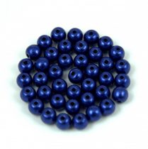 Czech Pressed Round Glass Bead - saturated metallic ultra violet - 4mm