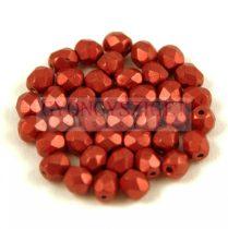 Cseh csiszolt golyó gyöngy - Saturated Metallic Cherry Tomato - 4mm