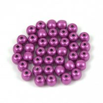 Czech Pressed Round Glass Bead - saturated metallic spring crocus - 4mm