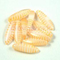 Lándzsa (szirom) cseh préselt üveggyöngy - opál cirmos narancs -5x16mm