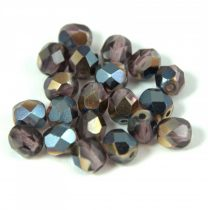 Czech Firepolished Round Glass Bead - amethyst gunmetal - 6mm
