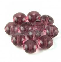 Doughnut - Czech Firepolished Faceted Bead - 6x9mm - ametiszt