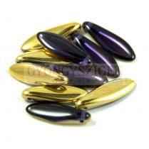 Lándzsa (szirom) cseh préselt üveggyöngy - purple velvet-arany metál -5x16mm