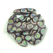 Lándzsa (szirom) cseh préselt üveggyöngy - Matt purple velvet peacock -5x16mm