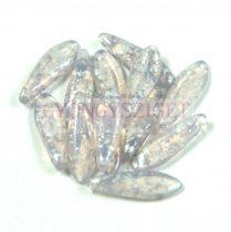 Lándzsa (szirom) cseh préselt üveggyöngy - kristály lila ezüst patina -5x16mm