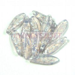 Lándzsa (szirom) cseh préselt üveggyöngy - Pale Purple Silver Patina -5x16mm