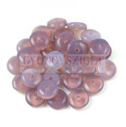 Lentil - Czech Glass bead - light amethyst opal -6mm