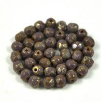 Cseh csiszolt golyó gyöngy - telt lila ezüst travertin -4mm