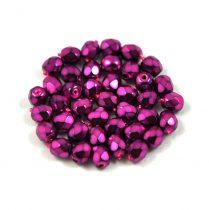 Cseh csiszolt golyó gyöngy -  higher metallic pink -4mm