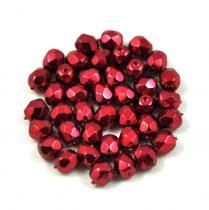 Cseh csiszolt golyó gyöngy -  higher metallic sour cherry -4mm