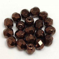 Cseh csiszolt golyó gyöngy - sötét bronz - 6mm